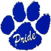"Blackwell bobcat paw print with the word ""Pride"""