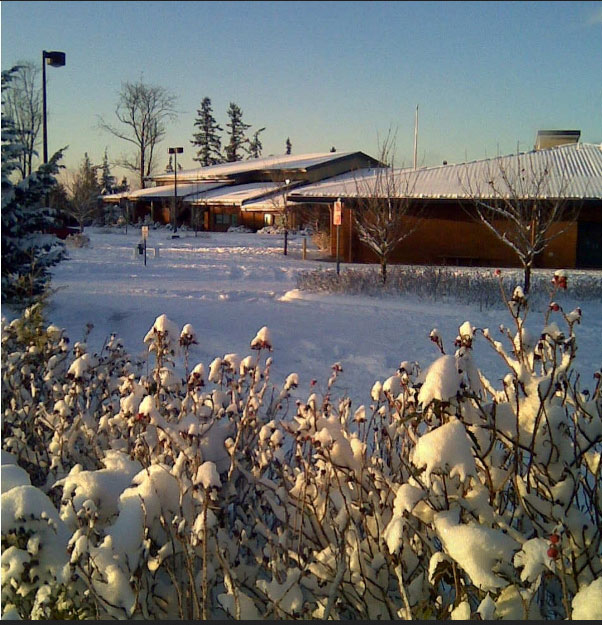 Blackwell Elementary School in the snow